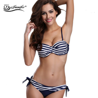 New Design Women Push Up Bikini Set Hot Summer Halter Swimsuit Ladies Striped Beachwear