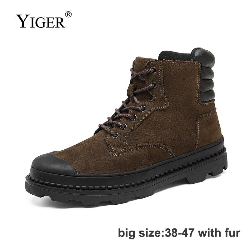 YIGER New Men Martins boots Autumn Winter men Lace up Desert boots big size 38 47