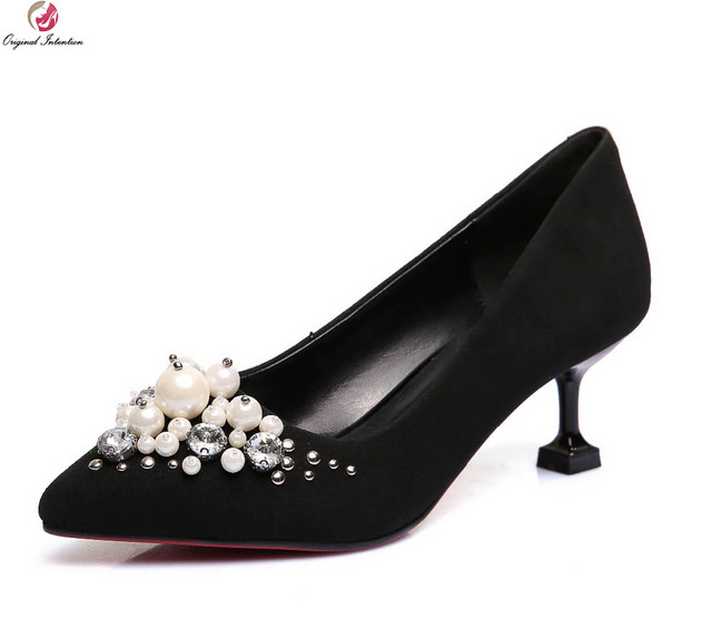 Original Intention Gorgeous Women Pumps Fashion Rhinestone Pointed Toe Thin  Heels Pumps Black Pink Shoes Woman 31907e69a53f