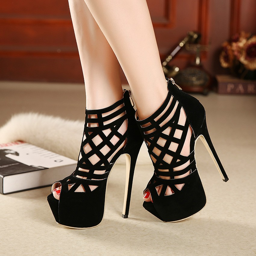 16cm Beautiful High-heeled Cut-out Sandals