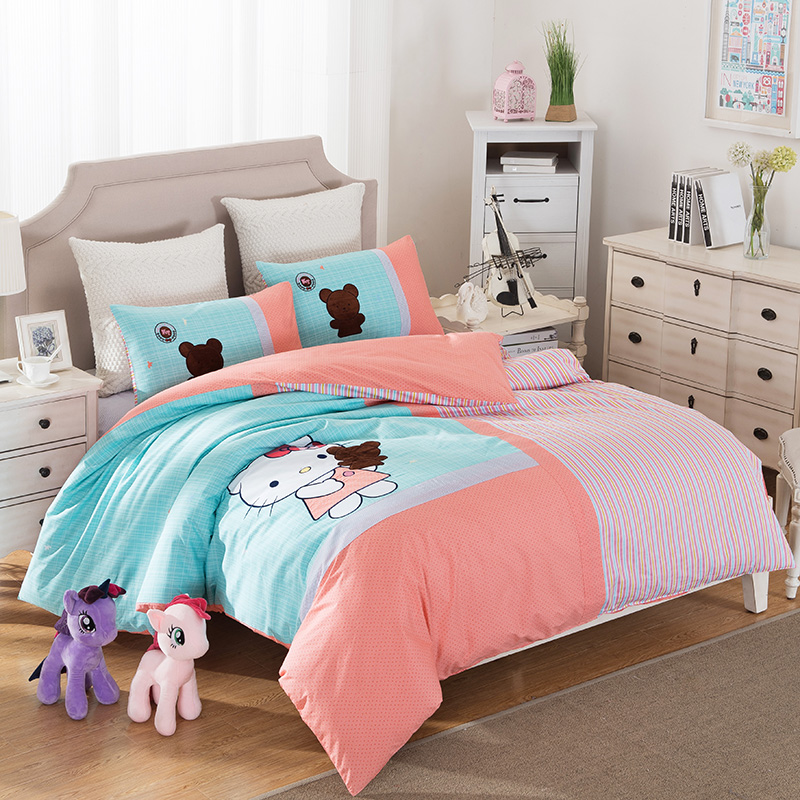 20colors cartoon cotton bedding set bright colors duvet cover quilt bedding bag embroidered bed sheet pillowcase king queen size