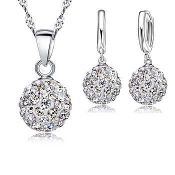 Austrian Crystal Pendant Necklace Dangle Earrings Elegant 925 Sterling Silver Disco Ball Wedding Jewelry Sets