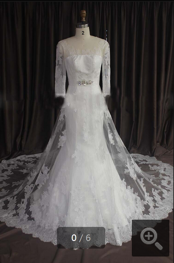 2015 real picture white lace mermaid 3/4 sleeve wedding dresses scoop neckline chapel train elegant bridal gowns
