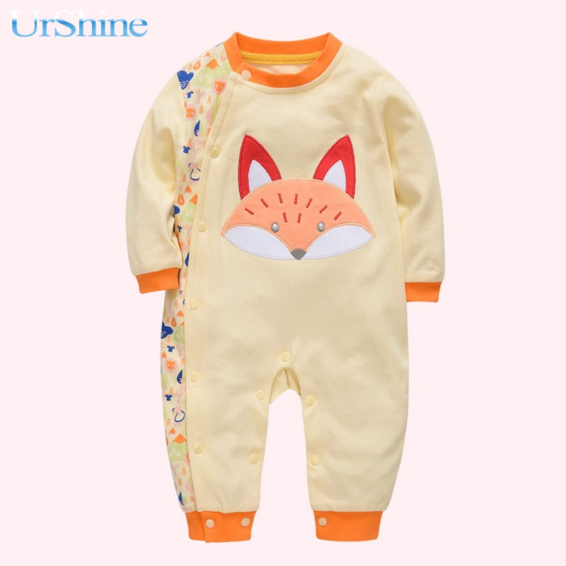 2018 Baby Romper Children Autumn Clothing Infant Jumpsuit Long Sleeve Kids Boys Girls Wear Newborn Overalls Fox Embridery Cotton kids romper baby halloween boys girls warm infant cool human skeleton long sheeve jumpsuit cotton festival costume