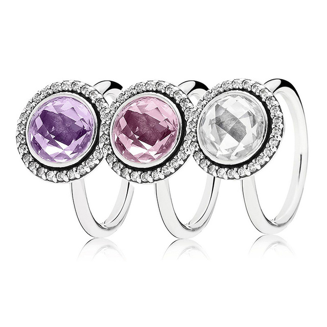 Statement Sparkling Ring With Clear/Pink/Purple Crystal 925 Sterling Silver Ring