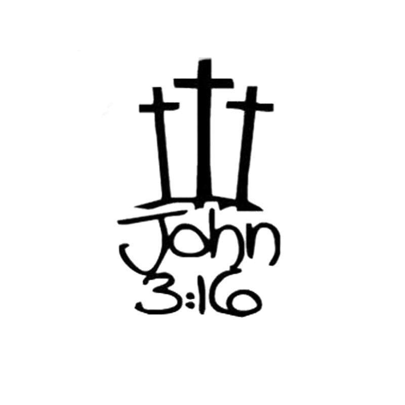 7.7 см*12.2 см 3 кресты с Иоанна 3:16 Иисус христианские наклейки автомобиль автомобиль стайлинг и аксессуары черный щепка С8-1277