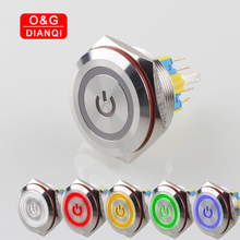 цена на 30mm Waterproof Push Button Switch Self locking Momentary Button Switch with Power Symbol Ring Led Metal Switch for Computer