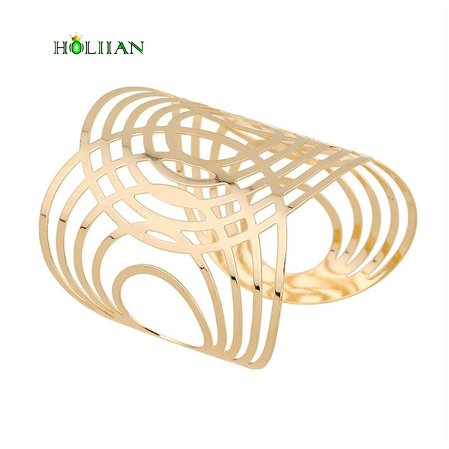 2017 women oval Gold-color bracelet wide wrap luxury egyptian arm bangle cuff bi