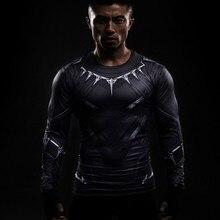 Черная Пантера 3D Печатные Футболки Капитан Америка Гражданской Войны Тройник С Длинным Рукавом Косплей Хэллоуин Костюмы Сжатия Топы Для Мужчин