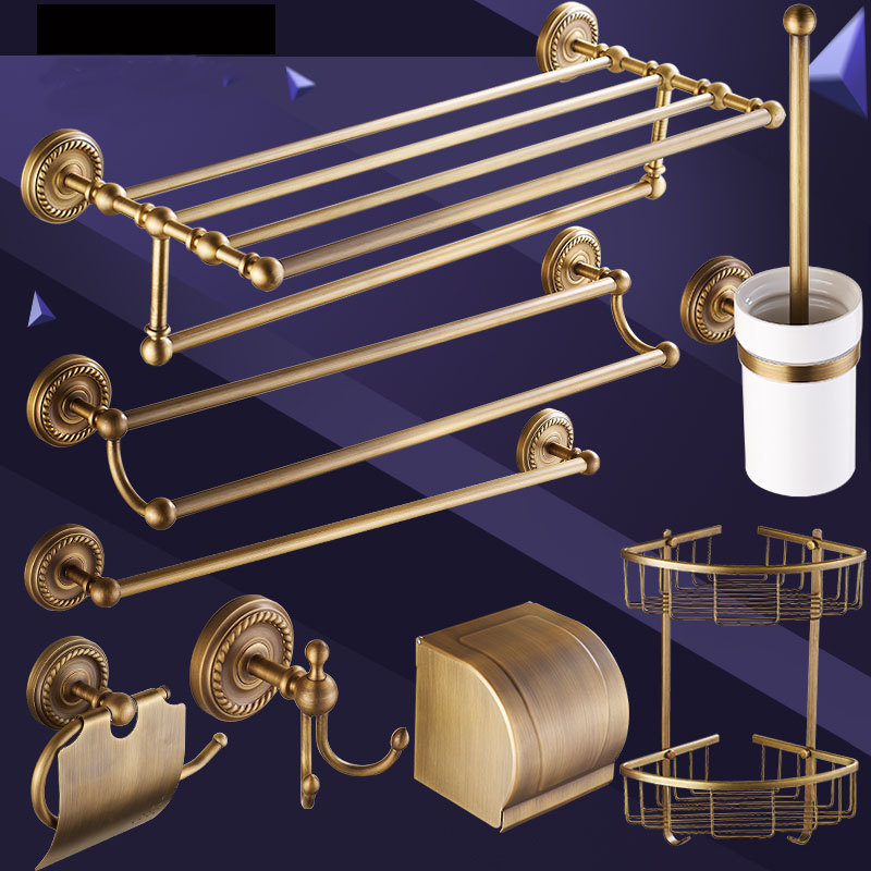 18 Different Copper bathroom accessories set, Brass bathroom accessories shelf antique, Bathroom shelf hooks towel bars suite ...