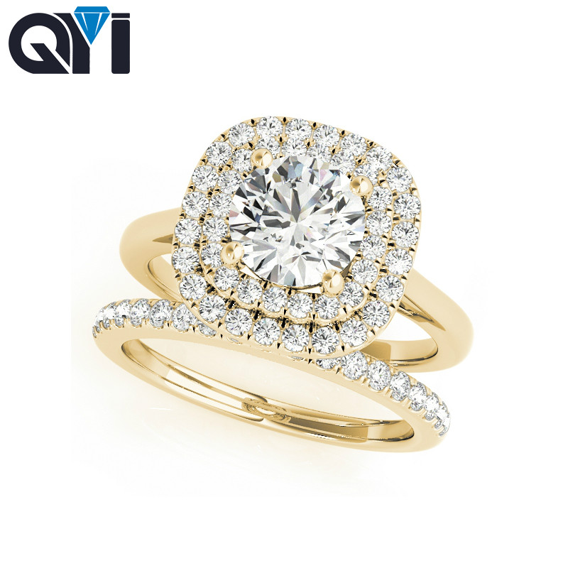 QYI Solid 14K Yellow Gold Double Halo Engagement Ring Sets 1ct Round Cut Simulated Diamond Bridal Jewelry Wedding Ring For Women