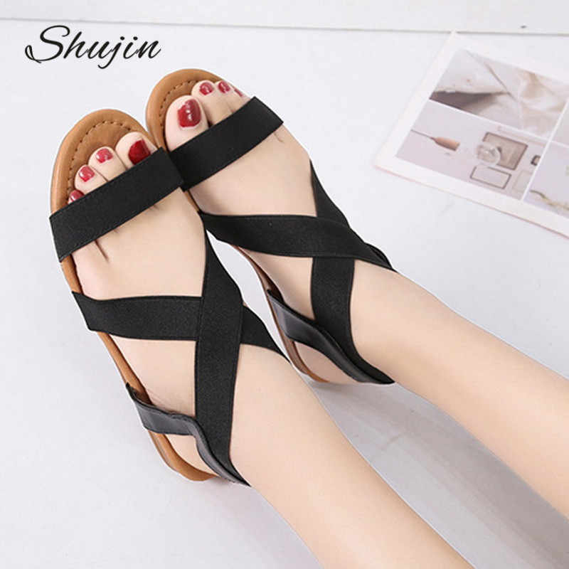 2019 Women's Sandals Summer Ladies Shoes Low Heel  Skidding Beach Shoes Peep-toe Fashion Casual Walking sandalias #New
