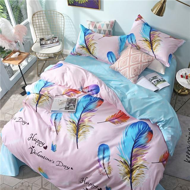 Microfiber Fabric comforter bedding sets queen size feather twin duvet cover set bed sheet bedline