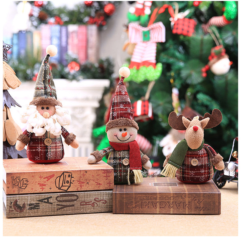 2019 Merry Christmas Tree Ornaments Christmas Decorations for Home New Year gift Children Snowflake Elk Plaid Doll Hanging Natal (15)