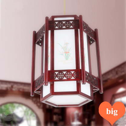 Chinese orchid pattern red wood art Pendant Lights Carved frame white acryl shade E27 LED lamp for stairs&cafe&pavilion MF027