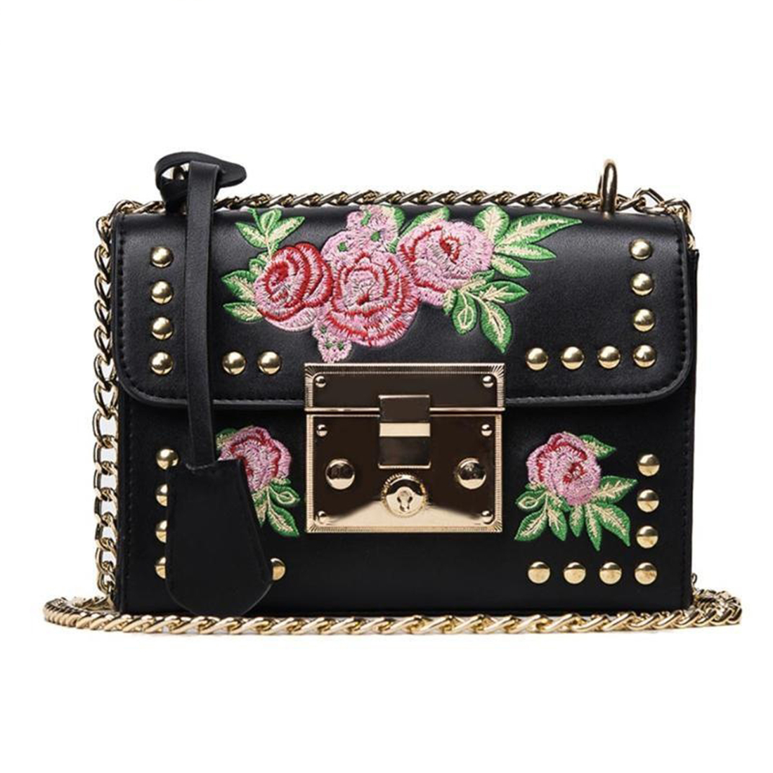 BEAU-Black new PU leather handbag Messenger bag embroidery rivets lock embroidery chain bag tide national wind small square ba