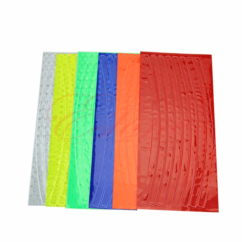Fluorescent MTB Bike Bicycle Cycling Motorcycle Wheel Tire Tyre Reflective Stickers Strip Decal Tape Safety