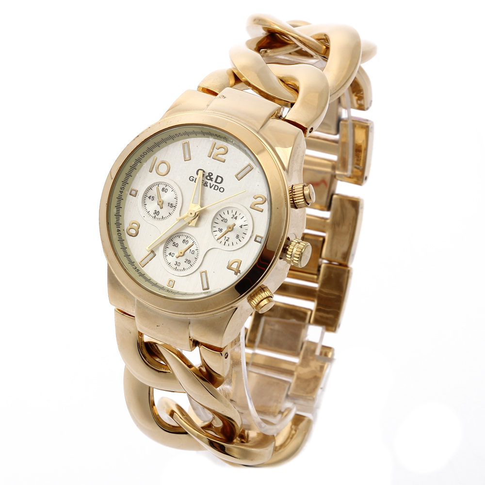 Relogio Feminino G & D Dames Quarts Horloges Goud Rvs Band Mode Luxe - Dameshorloges