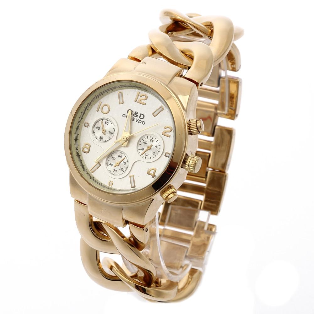 Relogio Feminino G&D Women Quarts Wristwatches Gold Stainless Steel Band Fashion Luxury Women's Watch Reloj Mujer Hour Gifts