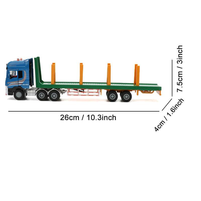 Jingbang 1:50 2 Pcs Trailer Flatbed Ambil Kayu Mesin Mainan Paduan Transportasi Kayu Truk Mainan Anak Model Truk