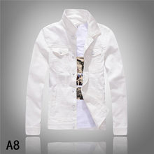 2016 New Vintage Men's Fashion Denim Thin Jacket Long Sleeve White Army Green Top quality Hot Selling Jean Jacket Autumn Spring(China)
