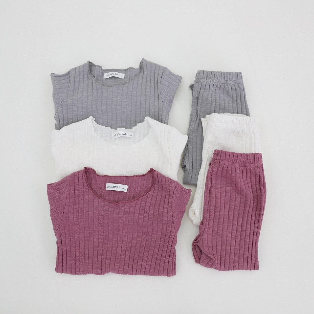 Baby Mädchen Kleidung Anzug T-shirt + Hosen Infant Baby Mädchen Kleidung Stricken Tops Hause Outfits 2 Pcs Set Candy Farbe 1-8 Jahre Großhandel