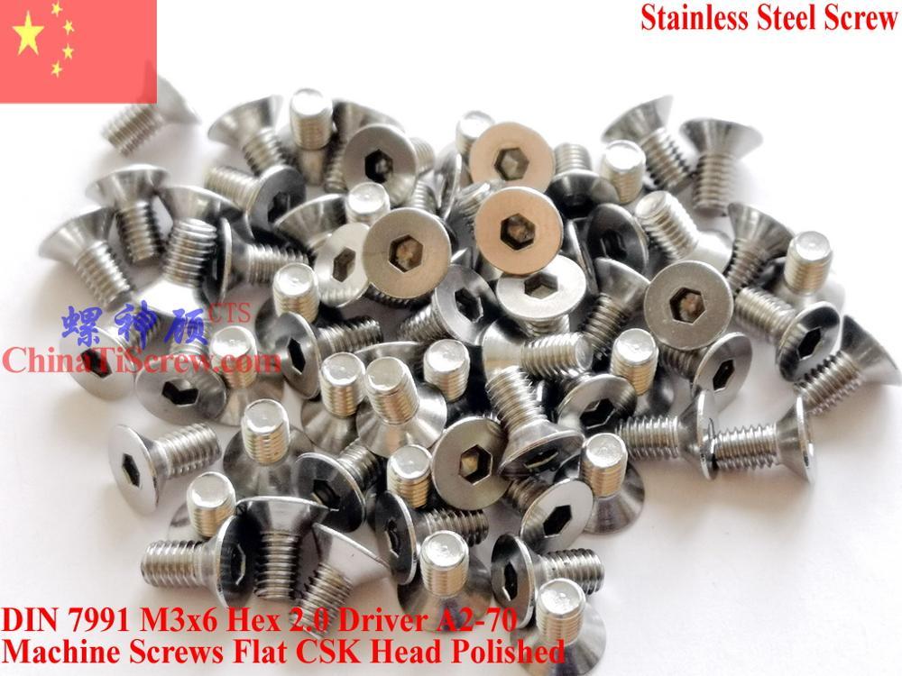 Aço inoxidável A2-70 M3x6 CSK Cabeça Chata parafusos DIN 7991 Hex Motorista Polido ROHS 100 pcs