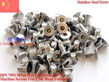 Stainless Steel screws M3x6 CSK Flat  Head DIN 7991 Hex Driver A2-70 Polished ROHS цена