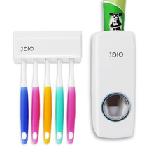 GFHGSD 1 Set Tooth Brush Holder Automatic Toothpaste Dispenser + 5 Toothbrush Wall Mount Stand Bathroom Tools