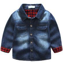Fashion Children Baby Boys Lapel Splicing-Plaid Denim Coats Jacket Kids Soft Outwear Boys Girls Jackets for Christmas