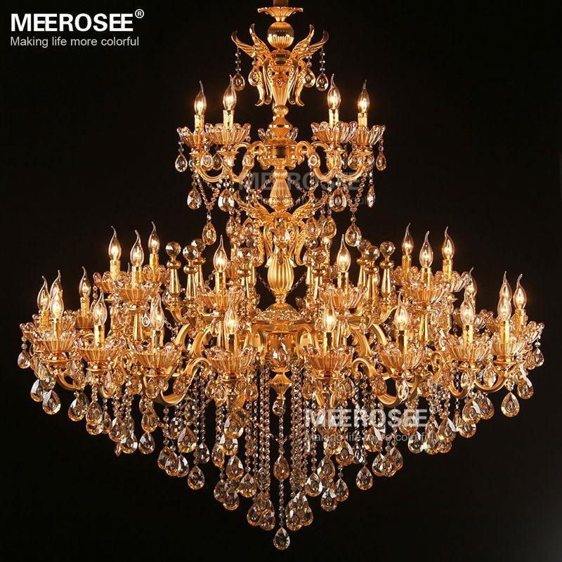 Stor Royal Golden Crystal lysekrone lampe Lustres Cristal Suspension - Indendørs belysning - Foto 1