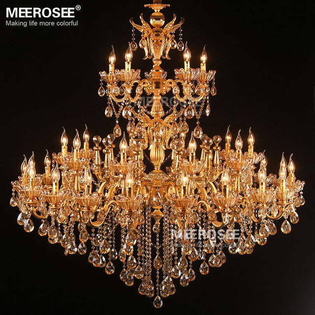 Large royal golden crystal chandelier lamp lustres cristal large royal golden crystal chandelier lamp lustres cristal suspension project lighting hotel resteruant villa luminaire lights aloadofball Image collections