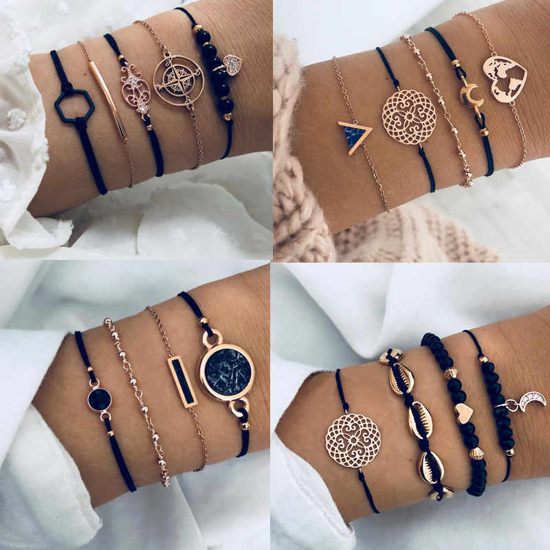 2019I Bohemian Black Beads Chain Bracelets Bangles For Women Fashion Heart Compass Gold Color Chain Bracelets Sets Jewelry Gifts