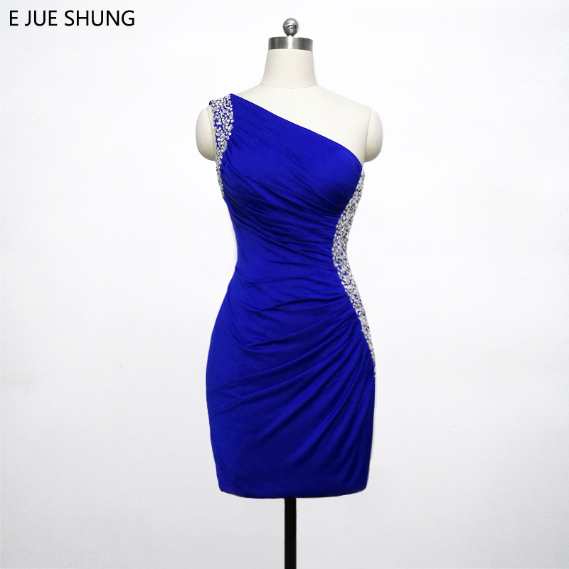 E JUE SHUNG Royal Blue Short   Prom     Dresses   2018 Beaded One Shoulder Cute Short Cocktail Party   Dresses