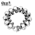 2016 New Cool Punk punk skull Bracelet for Man 316 Stainless Steel Man's High Quality jewelry BC8-003