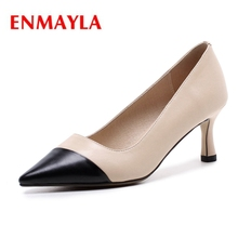 ENMAYLA  Genuine Leather Pointed Toe Casual Slip-On Shoes Tacones Mujer Lady High Heel Elegant Size 34-40 ZYL2090