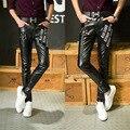 2016 pantalones masculinos pantalones pies pantalones de cuero locomotora de cuero de LA PU