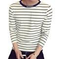 Hot 2016 New Fashion Striped T Shirt Men Autumn Casual O Neck Long Sleeve T Shirt Mens Clothing Trend Slim Fit Top Tee Shirt 5XL