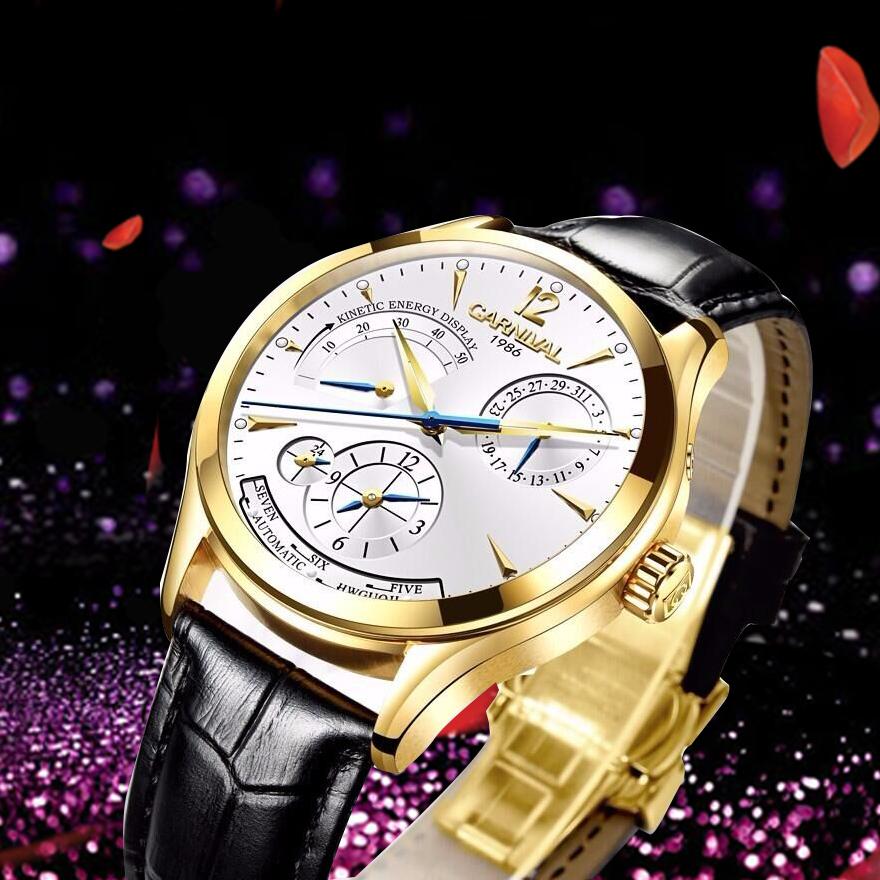 Prix pour Nouvelle marque de luxe hommes montre-bracelet unique design style automatique mécanique montres suisse carnival célèbre marque montre-bracelet