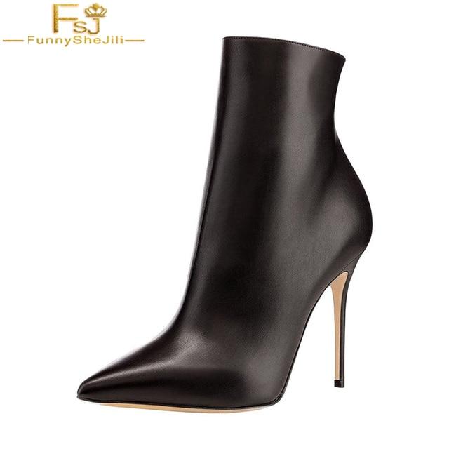 4b921610 FSJ Classic 2018 cuero negro mujeres tobillo tacones altos blanco invierno  botines puntiagudos Casual Stilettos botas