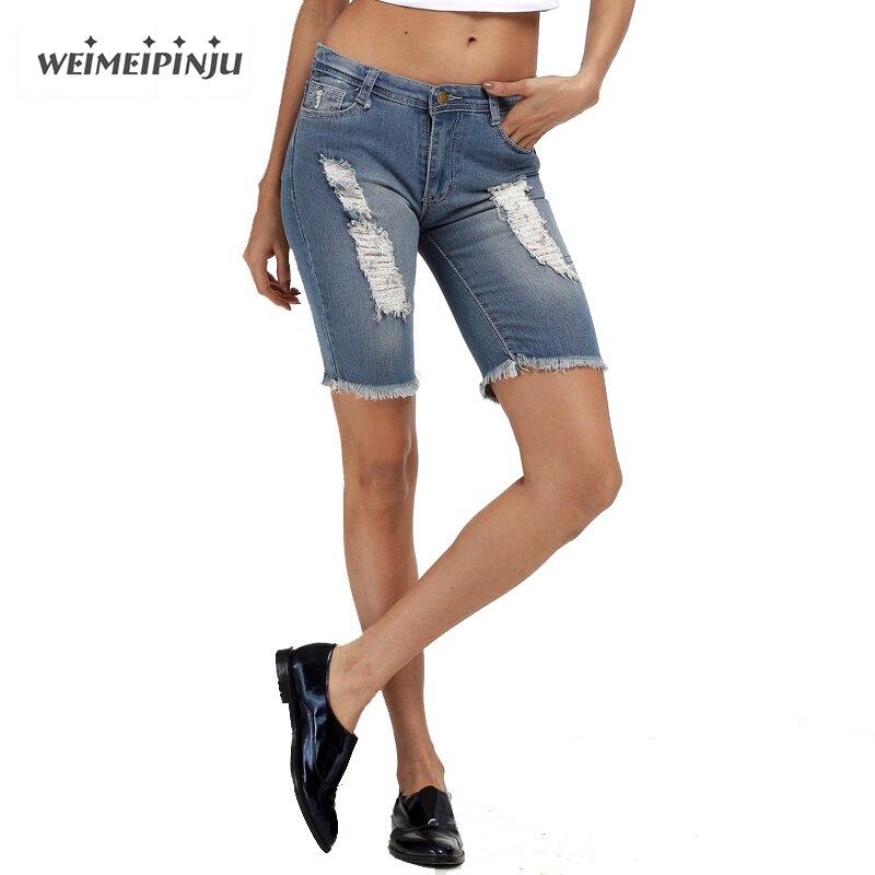 Summer Boyfriend Ripped Jeans Fashion Skinny Torn Shorts Pants Pencil Blue Denim Women s Jeans Plus