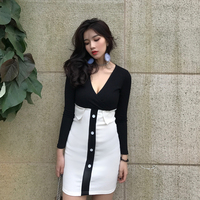 New Vintage Women dress Stretch Slim Hong Flavor Color Matching High Inner Wear Outside A Firm Offers Dresses 5175