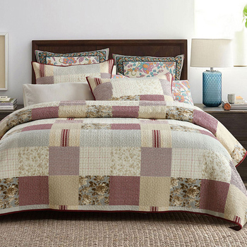 American Printed Bedspread Quilt Set 3pcs Quilted Cotton Bedding Quilts Bed Covers Pillowcase King Queen Size Summer Coverlets