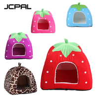 JCPAL Pet Soft Dog Cat House Strawberry Shape Red Pink Blue Deer Pattern Rurple Cute Soft Warm Pet Bed For Cat And Small Dogs