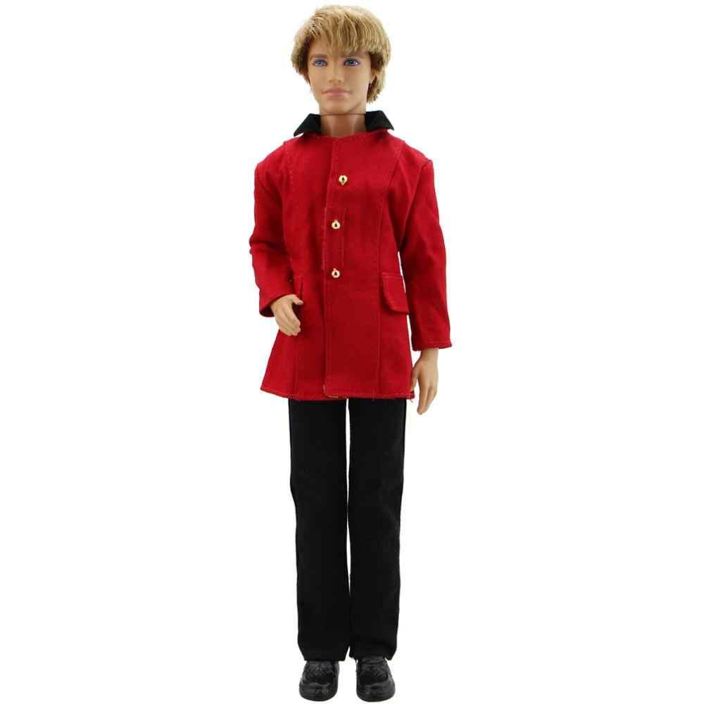 1 takım Moda Kırmızı resmi kıyafet Pantolon Pantolon Ceket Prens Düğün Giysileri Barbie ken Bebek Kıyafet Çocuklar