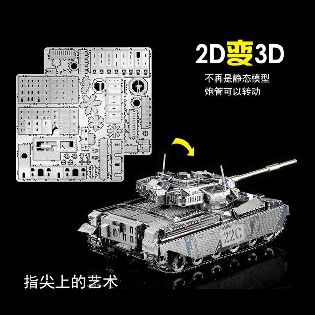 Juego de 2 piezas de rompecabezas de Metal 3D JS-2 tanque y tanque principal MK50 modelo militar DIY corte láser montar rompecabezas Juguetes Decoración de escritorio