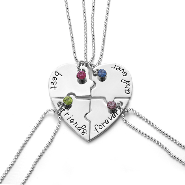 ab0bbb394971b US $1.85 |1 Set Necklace Best Friends Forever and Ever Hand Stamped Heart  Puzzle Piece Necklaces Set of 4 with Personalized Birthstones-in Chain ...