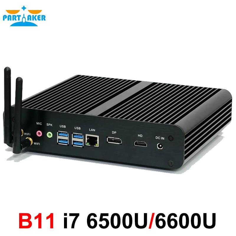 In Stock! Skylake 4K HTPC Desktop Computer Fanless Mini PC I7 6500U I7 6600U Windows 10 Barebone Max 16G RAM 512G SSD 1TB HDD
