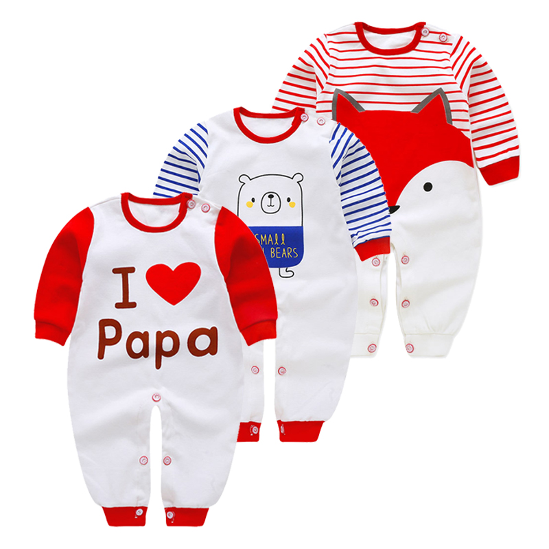 2019 New Born Baby Clothing Long Sleeved Cartoon   Rompers   Brands Baby Clothes 3m-18m Infant Baby Boutique Jumpsuit Cotton Pajamas