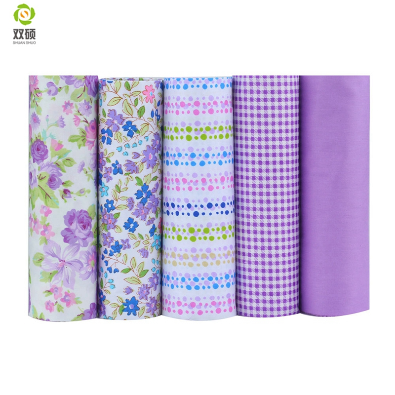 Shuanshuo Tissus Cotton Patchwork Fabric Telas Fat Quarter Bundles Fabric For Sewing DIY Crafts Purple Color 40*50cm 5pcs/lot